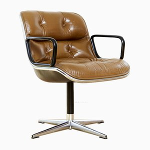 Vintage Leather Executive Chair by Charles Pollock for Knoll Inc. / Knoll International, 1970s