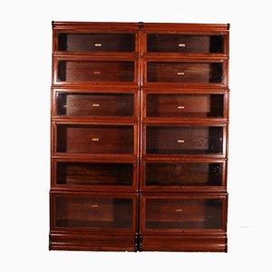 Mahogany 6-Bay Bookcases from Globe Wernicke, Set of 2
