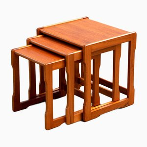Scandinavian Teak Trundle Coffee Tables, Set of 3
