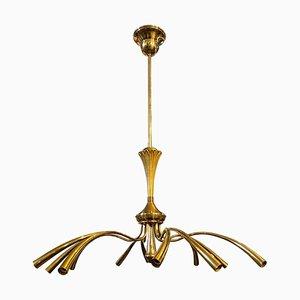 Italian Mid-Century Modern Brass Chandelier Attributed to Oscar Torlasco for Lumi, 1950s