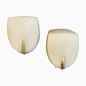 Art Deco Italian Rationalist Wall Sconces in the Style of Gio Ponti, 1930s, Set of 2
