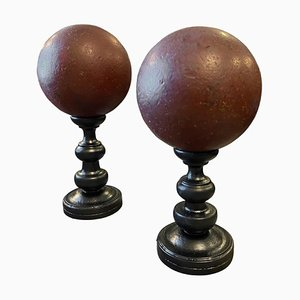 Art Deco Spheres on a Black Painted Wood Stand, 1940s, Set of 2