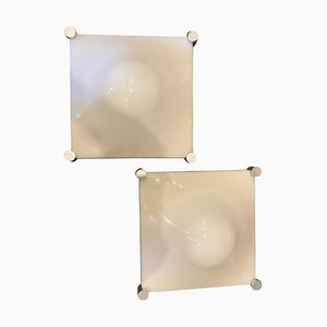 Space Age Acrylic and Steel Bolla Wall Sconces by Elio Martinelli, 1970s, Set of 2