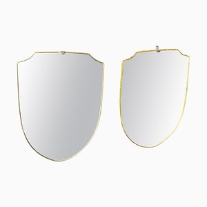 Mid-Century Modern Italian Brass Wall Mirrors in the Style of Gio Ponti, 1950s, Set of 2