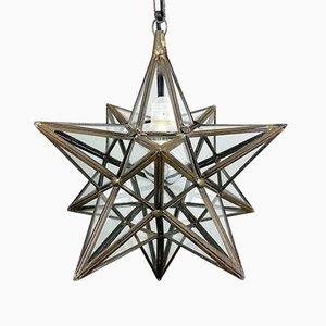 Mid-Century Brass Star Pendant Lamp, Italy, 1950s