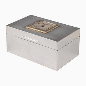 20th Century English Art Deco Solid Silver Cigarette Box with Clock, London, 1920s