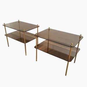 Mesas auxiliares vintage de vidrio con dos niveles. Juego de 2