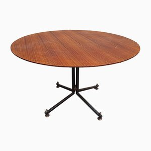 Model 1955 17 Round Rosewood Table with Iron Base by Ico Parisi for Brunoli Furniture, 1950s