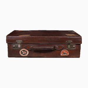Antique Edwardian English Gentleman's Suitcase in Leather, 1910s