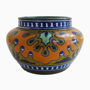 Pot Flower Holder in Matt Ceramic from Gouda Holland, 1920s