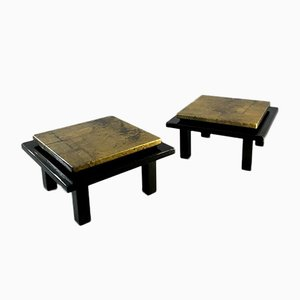 Night Tables in Japonisant Lacquer Black and Gold, France, 1970s, Set of 2