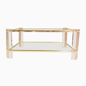 Mid-Century Square Lucite and Gold 2-Tier Coffee Table with Glass Tops, 1970s