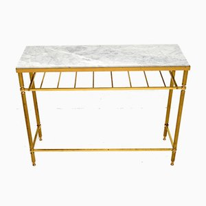 Vintage French Brass & Marble Console Table