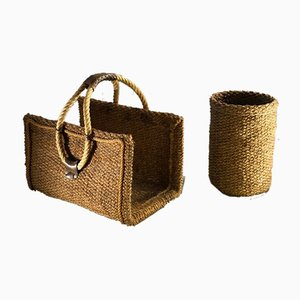 Log Holder Basket in Rope and Leather by Adrien Audoux & Frida Minet, 1960s, Set of 2
