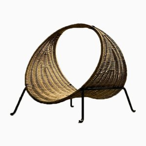 Log Holder in Metal and Rattan, France, 1950s