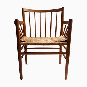 Smoked Oak and Webbing J80 Chair by Jørgen Bækmark for FDB Møbler, Denmark