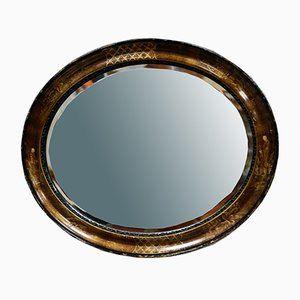 Oval Chinoiserie Bevelled Wall Mirror