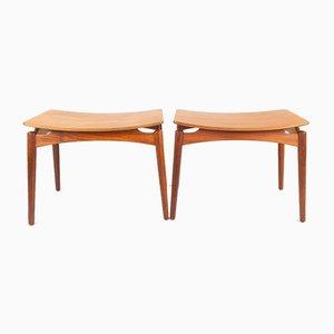 Vintage Danish Teak Footstools by Sigfred Omann for Ølholm, 1950s, Set of 2
