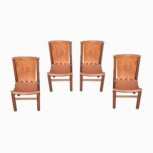 Chairs in Light Wood & Leather Seat Backrest by Ilmari Tapiovaara for Permaente Cantu, Set of 4