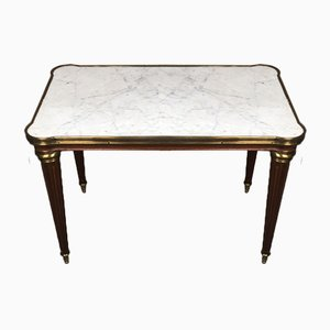 Louis XV Style Marble Top and Encircled Brass Coffee Table / Side Table