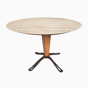 Round Dining Table in Brass with Marble Top by Paolo Buffa