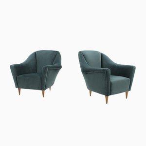Velvet Armchairs by Ico & Luisa Parisi for Ariberto Colombo, 1950s, Set of 2