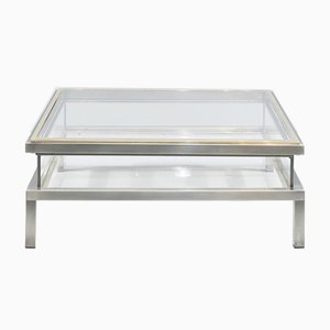 Square Hollywood Regency Coffee Table in Brass & Steel with Sliding Glass Top from Maison Jansen