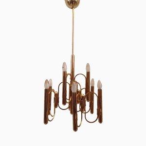 Lámpara de araña de dos niveles con 9 luces de Gaetano Sciolari, años 70
