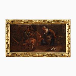 Antique Flemish Painting of Interior Family Scene, 17th Century