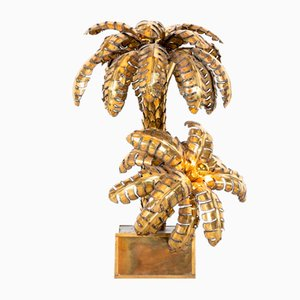 20th Century French Hollywood Regency Brass Palm Tree Floor Lamp from Maison Jansen, 1970s
