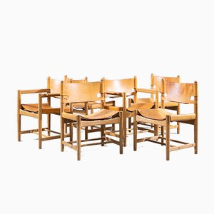 Oak & Leather Spanish Dining Chairs by Borge Mogensen for Fredericia, 1951, Set of 6