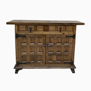 19th Century Catalan Spanish Baroque Credenza or Buffet with Two Drawers in Carved Walnut