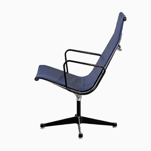 Blue Vinyl EA 116 Swivel Lounge Chair by Charles & Ray Eames for Herman Miller