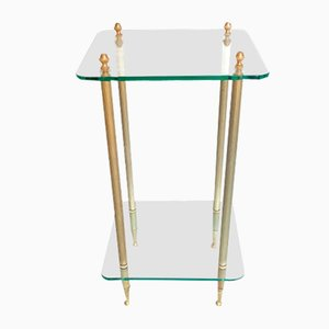 Glass and Brass Side Table, 1970s
