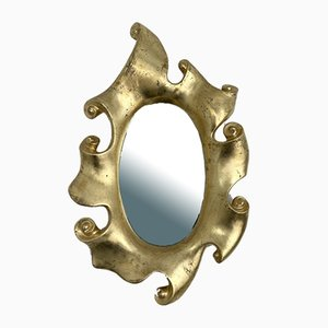 French Volute Mirror in Gold Leaf by Jean Boggio for Les Héritiers, 1980s