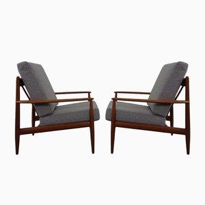 Danish Teak Easy Chairs by Grete Jalk for France & Daverkosen, 1960s, Set of 2
