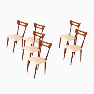 Italian Wooden Chairs in Ico Parisi Style, Set of 6
