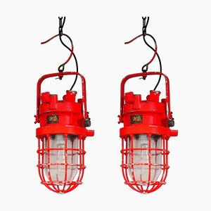 Orange Ceiling Lamps, Set of 2