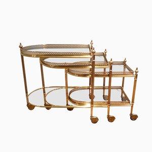Tavolini a incastro in ottone con rotelle di Maison Baguès, set di 3