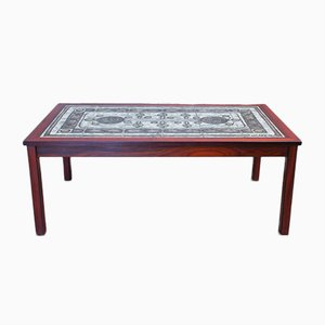 Danish Coffee Table in Rosewood and Tiles, 1970s