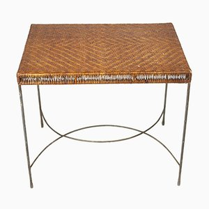 Rattan Topped Rectangular Coffee Table, 1950s