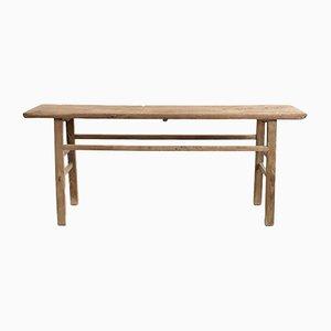 Large Antique Rustic Elm Console Table