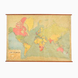 Large Vintage World Wall Map