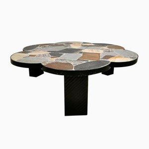 Vintage Dutch Brutalist Slate Stone Coffee Table