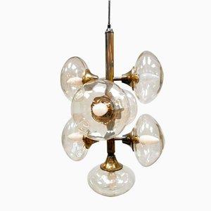 Vintage Brass Pendant Glass Sputnik Chandelier