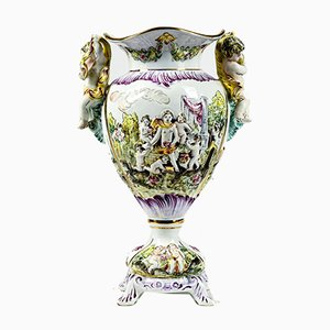 Colored Porcelain Vase by Capodimonte, 1970s
