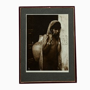 Original Photograph of Nude Black Woman with Veil and Basket, 1920s