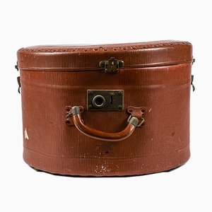 Hatbox Travel Vintage Cardboard and Brown Leather With Signs of Use Italy 40 Years