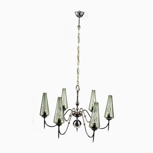 Chandelier in Metal and Blown Glass