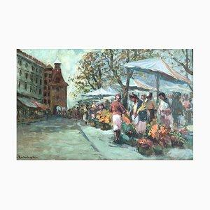 Kazimier Rubolowski, La Place du Molard et son Marché des Fleurs, 1952